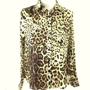 Le Lis Animal Print Lace Up Back Blouse Small